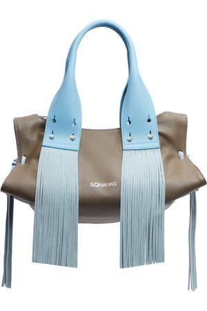 Artisanal Blue Leather Macro Pucker Rock & Wave Sand & Baby Tote Bag BONABAG