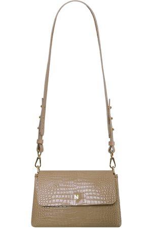 Women Purses - Artisanal Natural Linen No. 802 Flap Bag - Crocco Sand Small NOWINSKA handbags