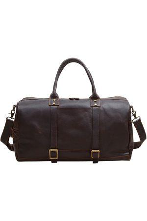Non-Toxic Dyes Brown Leather Vintage Look Weekend Bag In Dark Chocolate Touri