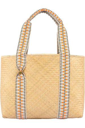 Women Luggage - Vegan Orange Cotton Mentawai Bamboo Tote Bag - Hot Medium STELAR
