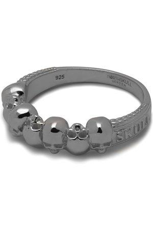 NORTHSKULL Septem Skull Band Ring In Gunmetal
