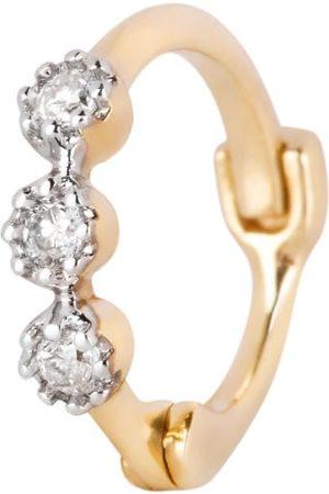 Women Hoop - Women's Gold Mini Diamond Trilogy Huggie Hoop Earring 9K Zohreh V. Jewellery