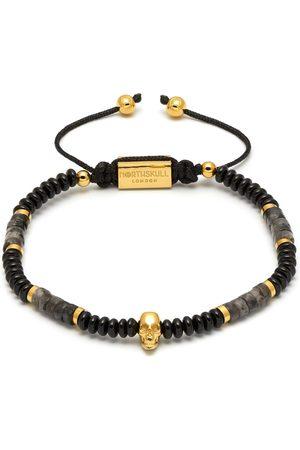 Men Bracelets - Men's Black Onyx / Gold Sheen Obsidian & Gold Atticus Skull Macramé Bracelet Northskull