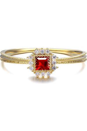 Azura Jewelry Dreamy Sunflower Red Garnet Ring
