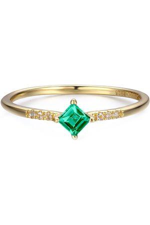 Azura Jewelry Women Rings - Princess Cut Square Columbian Emerald Ring