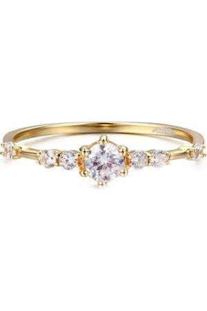 Azura Jewelry Women Rings - The Center Of The Universe White Topaz Yellow Ring