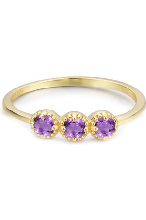 Azura Jewelry Women Rings - Past Present Future Amethyst Ring