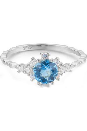 Azura Jewelry Clarity Blue Topaz Ring In White Gold Vermeil