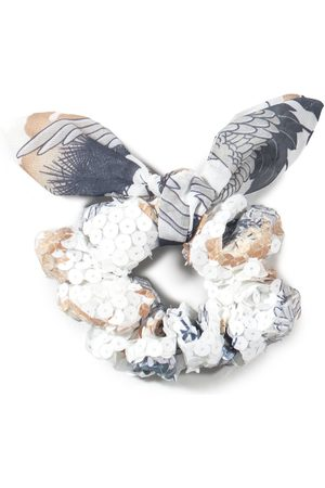 Women Bathrobes - Women's Artisanal White Cotton Upcycled Scrunchies With Bow - Sequin Sky 4649.REC