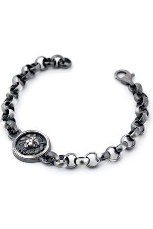 Men Bracelets - Men's Artisanal Silver Lion Head Bracelet Tomerm Jewelry