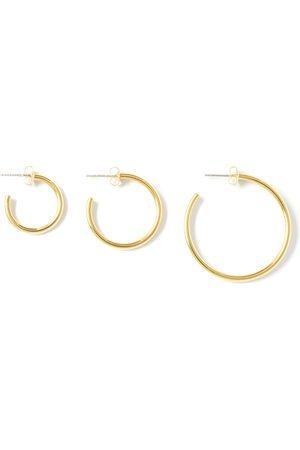 Women Earrings - Women's Artisanal Gold Brass Classic Loop Earring Set MvdT Collection