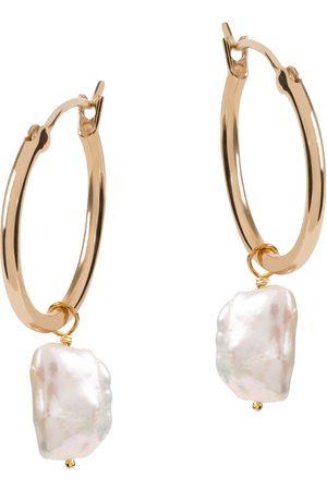 Amadéus Women Earrings - Venus Gold Hoop Earrings With Keshi Pearl Pendant