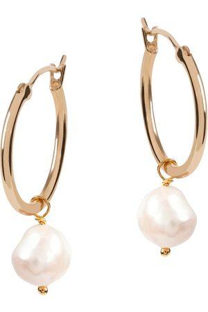 Amadéus Venus Gold Hoop Earrings With White Pearl Pendant