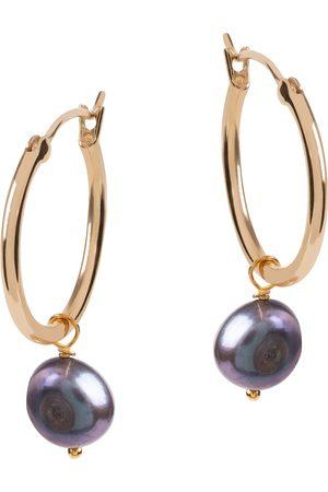 Amadéus Venus Gold Hoop Earrings With Dark Grey Pearl Pendant