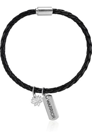 Men's Black Leather Braided Bracelet Callista by Vinita