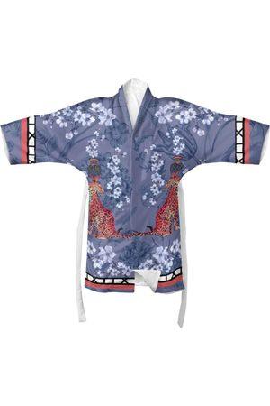 Women Kimonos - Women's Blue Silk Mishcka bell Kimono Myrtle & Mary