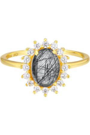 Azura Daisy Black Rutile Ring