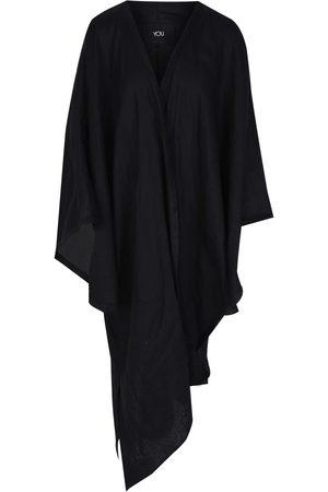 Women Kimonos - Women's Black Linen Oversized Kimono In YOU