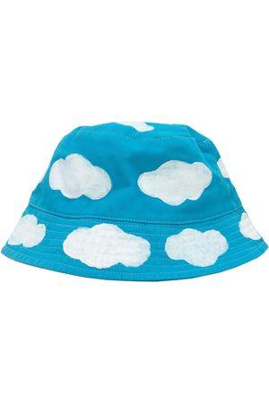 Men Hats - Men's Artisanal Blue Cotton Sky & Cloud Bucket Hat Large Quillattire