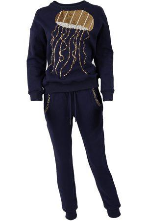 Women Sweats - Women's Non-Toxic Dyes Pearl Cotton Navy & Gold Jellyfish Lounge Set Large LAINES LONDON