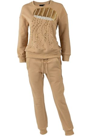 Women's Non-Toxic Dyes Natural Cotton Beige Pearl & Gold Jellyfish Lounge Set Large LAINES LONDON