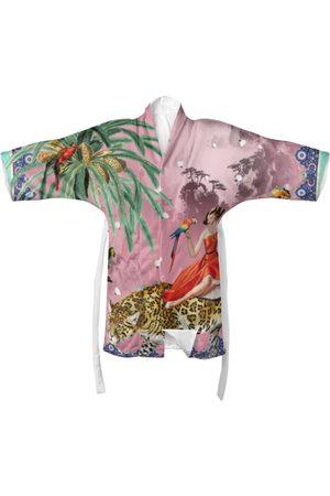 Women Kimonos - Women's Pink Silk Mary Kimono Large Myrtle & Mary