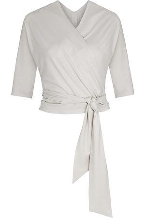 Women Wrap tops - Women's Non-Toxic Dyes White Wrap Top Bella Creme XXL Marianna Déri