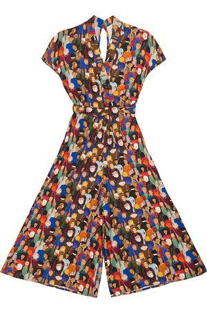 Women's Artisanal Budapest Face Print Kimono Jumpsuit Medium Tomcsanyi