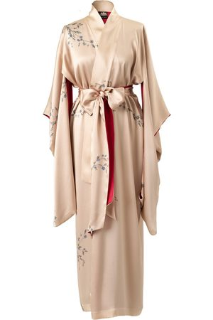 Women's Artisanal Gold Silk Le Perroquet Maxi Kimono - Sunset Medium Castlebird Rose