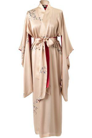 Women's Artisanal Gold Silk Le Perroquet Maxi Kimono - Sunset Small Castlebird Rose