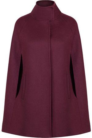 Women Ponchos & Capes - Women's Artisanal Bordeaux Wool Cashmere Single Breasted Cape Large Allora
