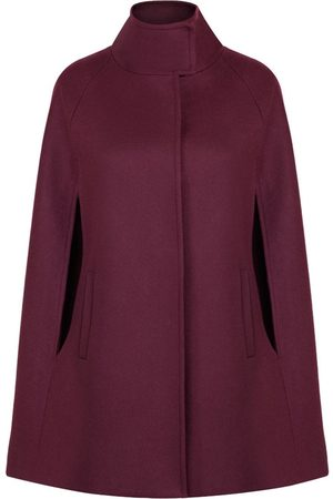 Women Ponchos & Capes - Women's Artisanal Bordeaux Wool Cashmere Single Breasted Cape Small Allora
