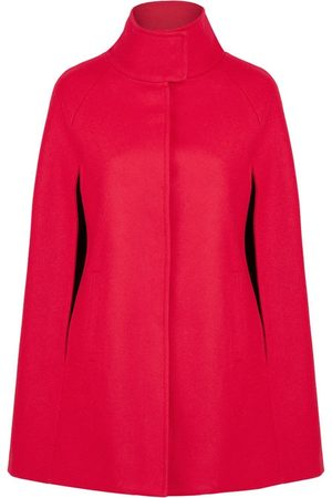 Women Ponchos & Capes - Women's Artisanal Red Wool Cashmere Single Breasted Cape - Poppy Medium Allora