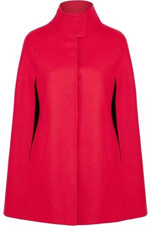 Women's Artisanal Red Wool Cashmere Single Breasted Cape - Poppy XXS Allora