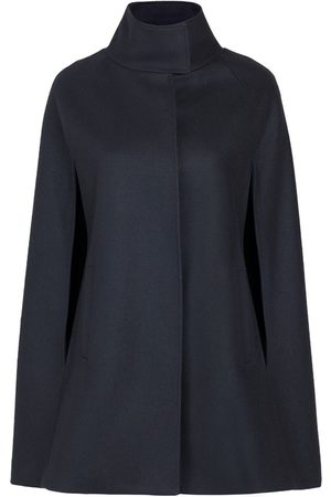 Women Ponchos & Capes - Women's Artisanal Black Wool Cashmere Single Breasted Cape Large Allora