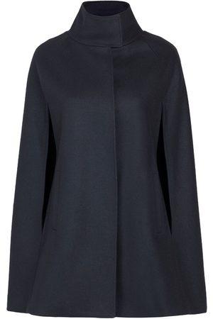 Women's Artisanal Black Wool Cashmere Single Breasted Cape XXL Allora