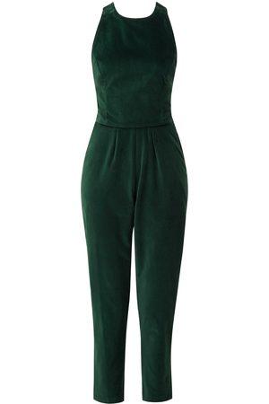 Women's Artisanal Green Velvet Toilet Friendly Jumpsuit XXS Leim