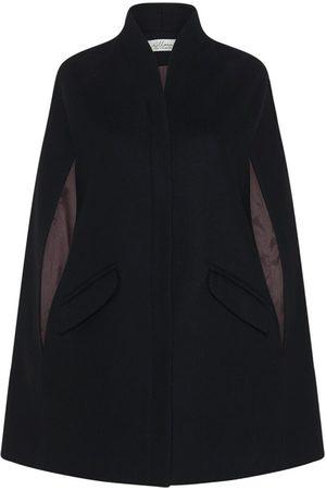Women Ponchos & Capes - Women's Artisanal Black Wool Chelsea Cashmere Cape XS Allora