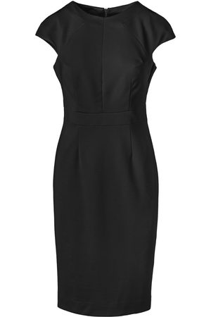 Women Bodycon Dresses - Women's Artisanal Black Fitted Dress With Cap Sleeves By Fashion Large Conquista