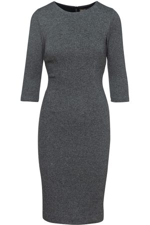 Women Bodycon Dresses - Women's Artisanal Grey Wool Fitted Knit Dress XXL Conquista