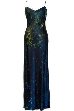 Women Casual Dresses - Women's Artisanal Blue Silk Arctic Lilies Slip Dress Large Carmen Molina
