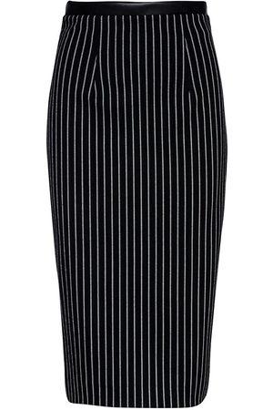 Women Pencil Skirts - Women's Artisanal Black Leather Striped High Waist Pencil Skirt XXL Conquista