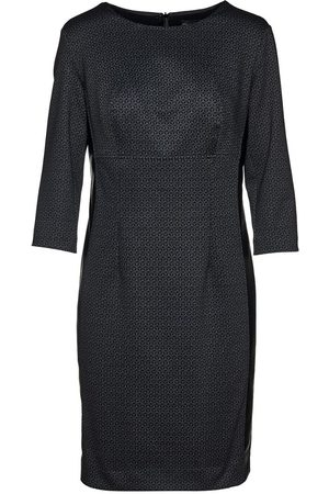 Women's Artisanal Black Leather Print Punto Di Roma Pencil Dress Large Conquista