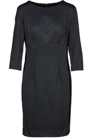 Women's Artisanal Black Leather Print Punto Di Roma Pencil Dress XL Conquista