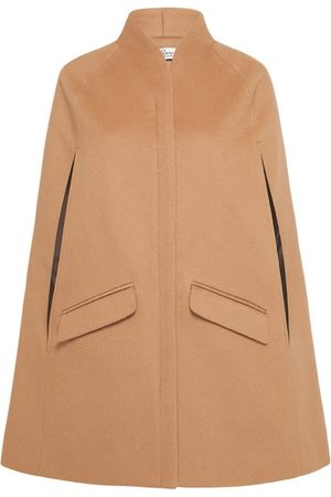 Women Ponchos & Capes - Women's Artisanal Brown Wool Chelsea Cashmere Cape - Camel Large Allora