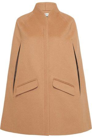 Women Ponchos & Capes - Women's Artisanal Brown Wool Chelsea Cashmere Cape - Camel XXS Allora