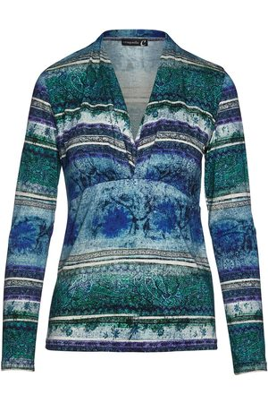 Women Wrap tops - Women's Artisanal Fabric Print Faux Wrap Jersey Top XL Conquista