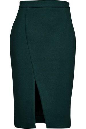 Women's Artisanal Green Fabric Dark Mouflon Pencil Skirt Large Conquista