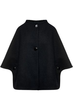 Women Ponchos & Capes - Women's Artisanal Black Fabric Mouflon Cape With Buttons Small Conquista