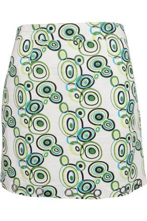 Women Printed Skirts - Women's Artisanal Green Cotton Groovy Retro Print Drill Mini Skirt XS NIM
